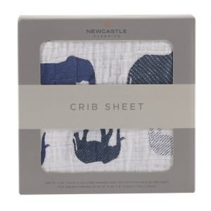 Blue Elephant Crib Sheet